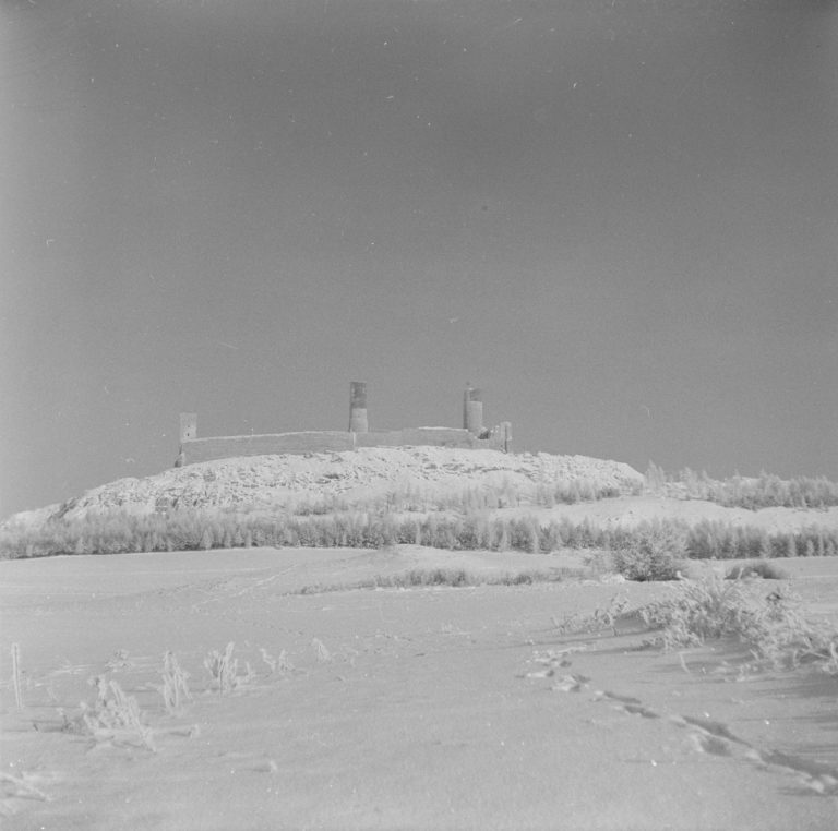 Snow-covered castle from the south
