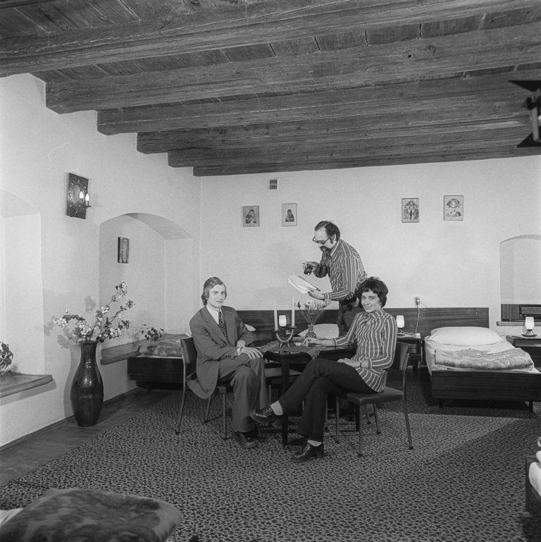 Pokój hotelowy ze stropem z modrzewia